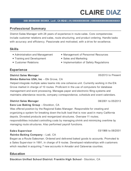District Sales Manager resume format California
