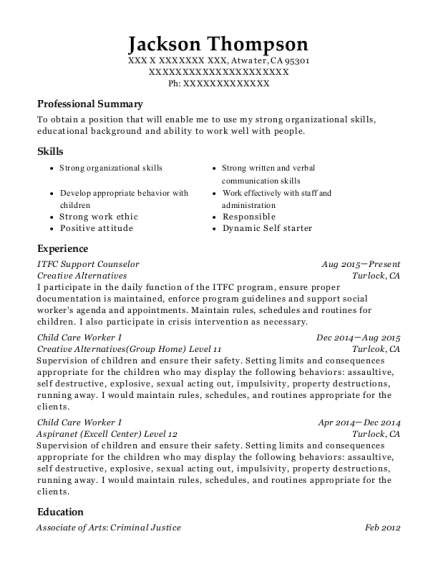 ITFC Support Counselor resume example California