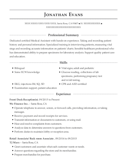 Front Desk Receptionist resume template California