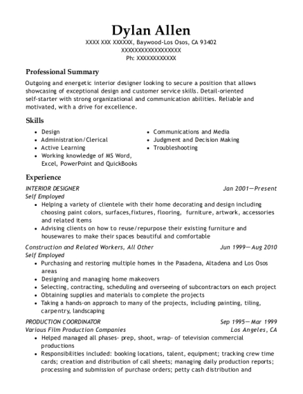 Interior Designer resume template California