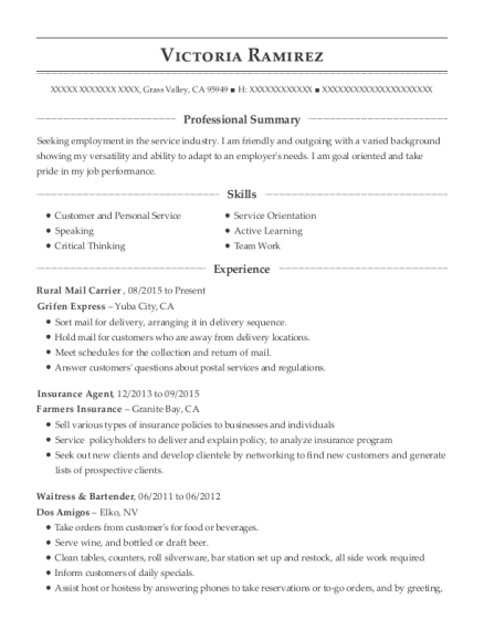 Rural Mail Carrier resume template California