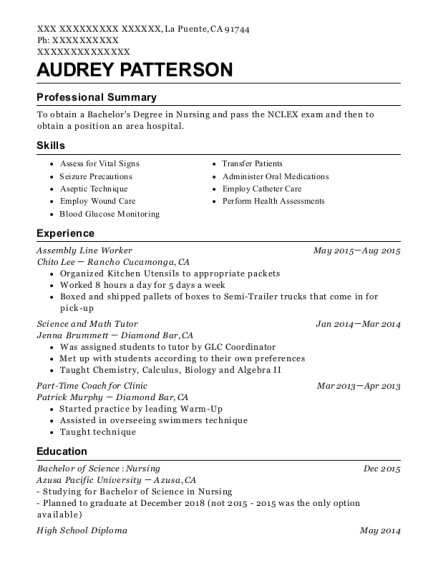 Assembly Line Worker resume example California