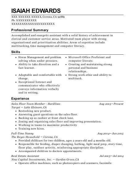 Target Team Member Hardlines Resume Sample - South
