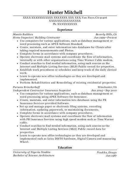 Home Inspector resume example California