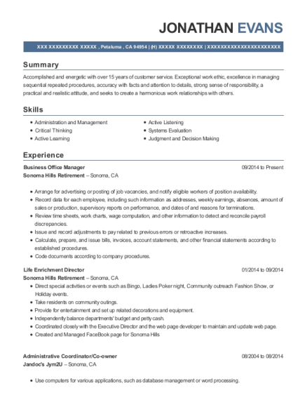 Business Office Manager resume example California