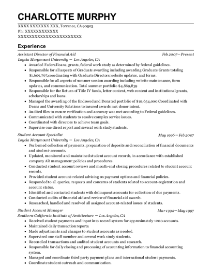 Assistant Director of Financial Aid resume sample California