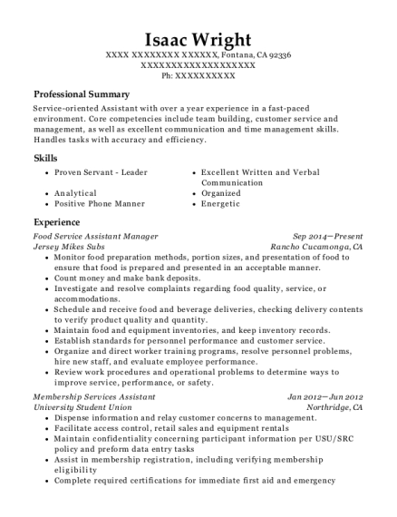 Food Service Assistant Manager resume format California