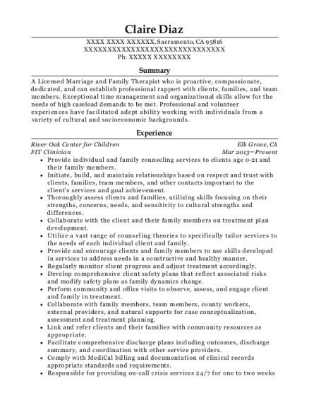 FIT Clinician resume example California