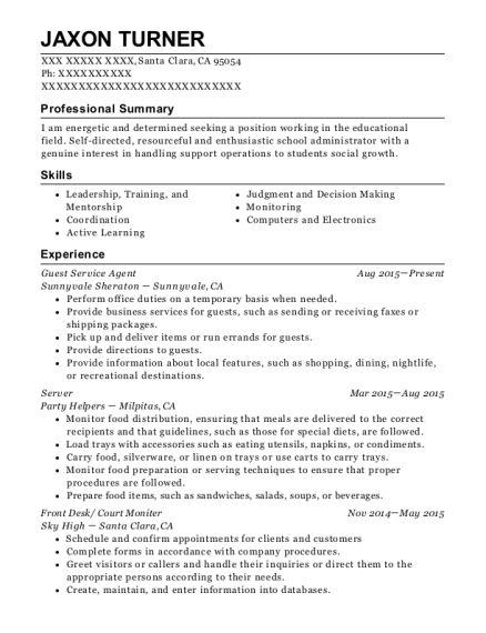 Guest Service Agent resume format California