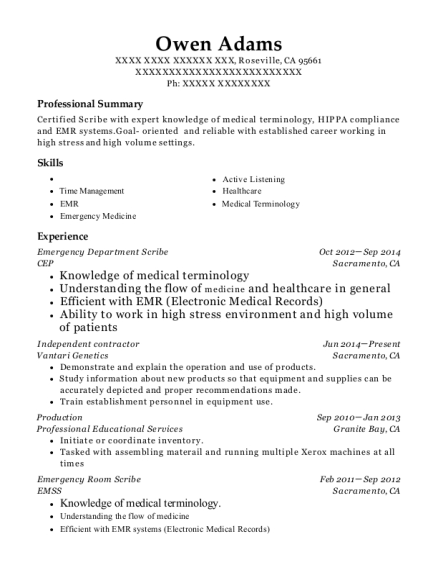 Emergency Department Scribe resume example California