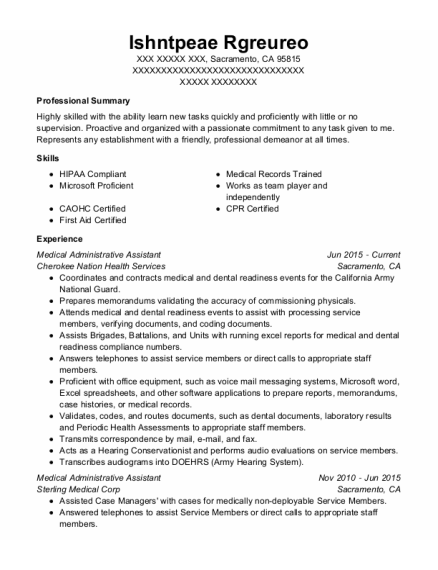 Medical Administrative Assistant resume example California