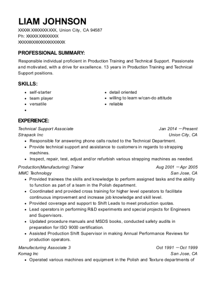 Technical Support Associate resume example California