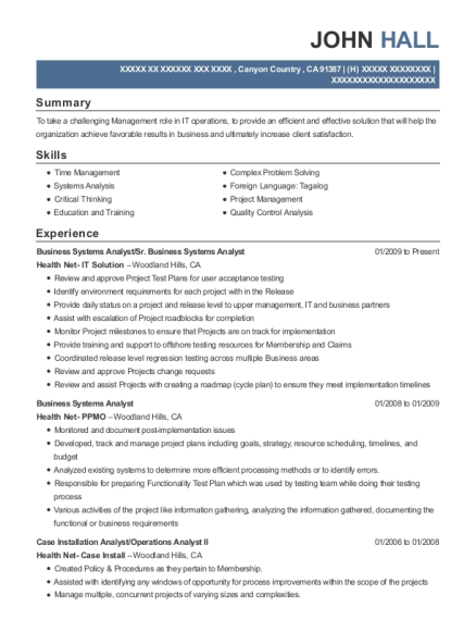 Business Systems Analyst resume sample California