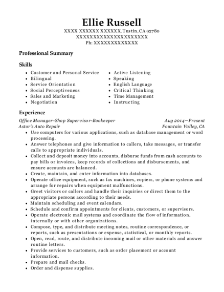 Office Manager Shop Supervisor Bookeeper resume format California