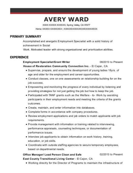 Employment Specialist resume sample California