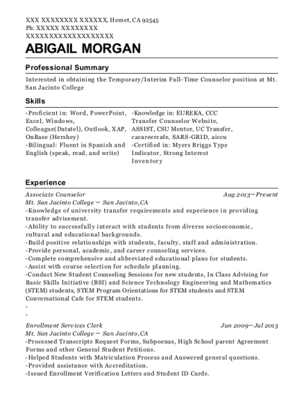 Mt San Jacinto College Associate Counselor Resume Sample - Hemet