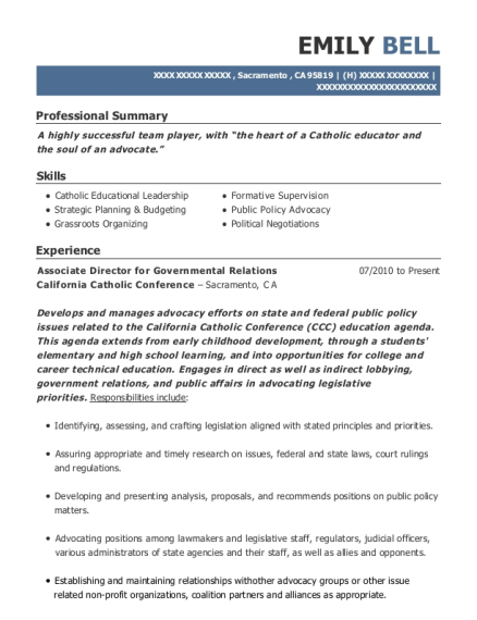 Associate Director for Governmental Relations resume example California