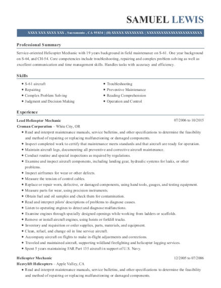 Lead Helicopter Mechanic resume template California