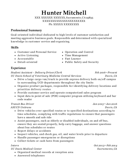 Student Assistant Delivery Driver resume example California