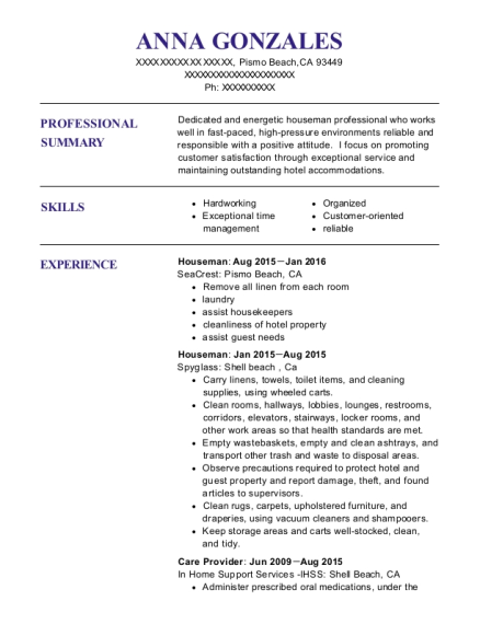 Houseman resume sample California