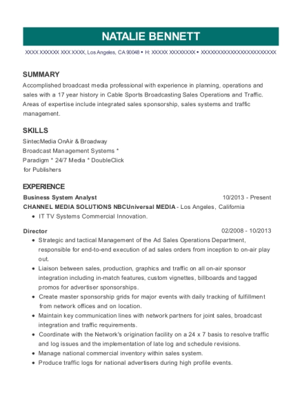 Business System Analyst resume template California