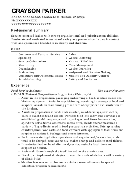 Food Service Assistant resume format California