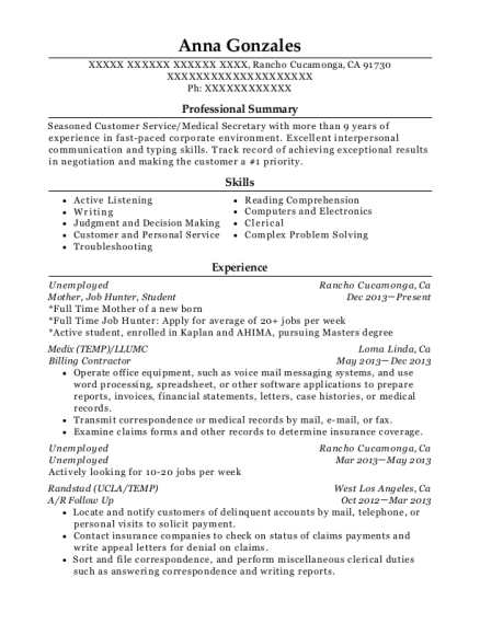 Mother resume example California