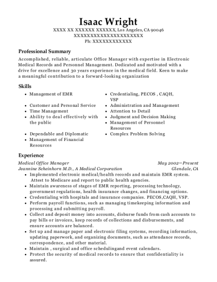 Medical Office Manager resume format California