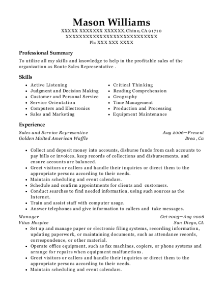 Sales and Service Representive resume example California