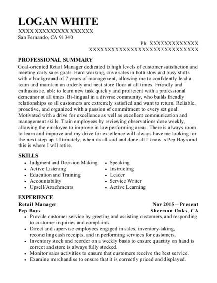 Retail Manager resume format California