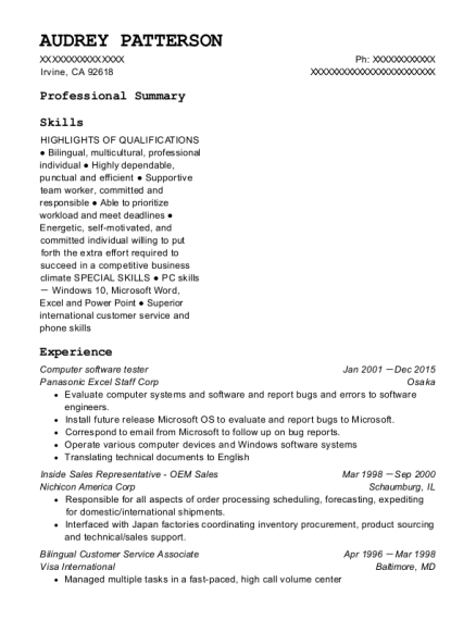 Computer software tester resume example California