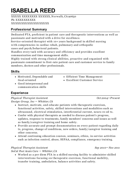 Physical Therapist Assistant resume example California