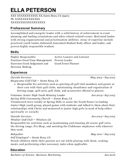 Outside Services resume template California