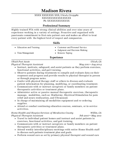 Physical Therapist Assistant resume sample California