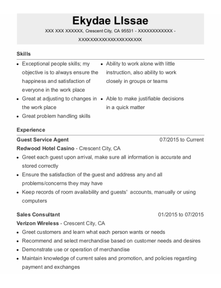 Guest Service Agent resume template California