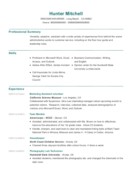 Marketing Assistant volunteer resume format California