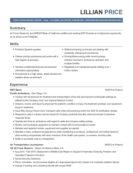 EMT Basic resume format California