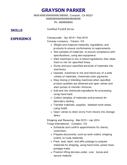 Compounder resume template California