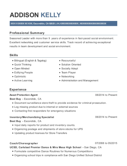 Asset Protection Agent resume template California