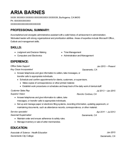 Office Sales Support resume format California