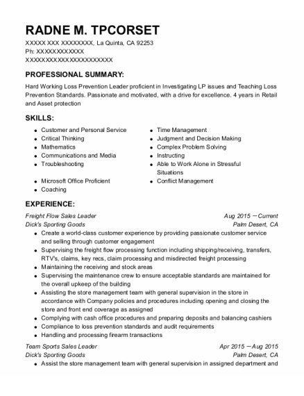 Freight Flow Sales Leader resume template California