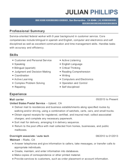 Mail carrier resume format California