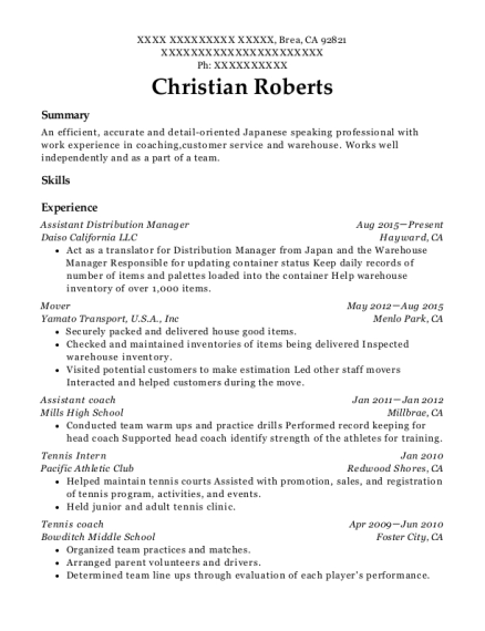 Assistant Distribution Manager resume template California