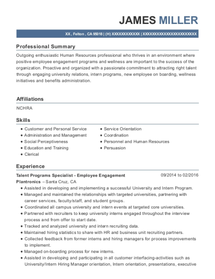Talent Programs Specialist Employee Engagement resume template California