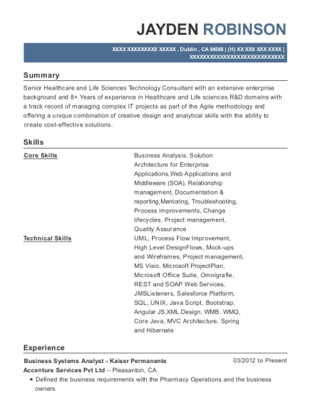 Business Systems Analyst Kaiser Permanente resume example California