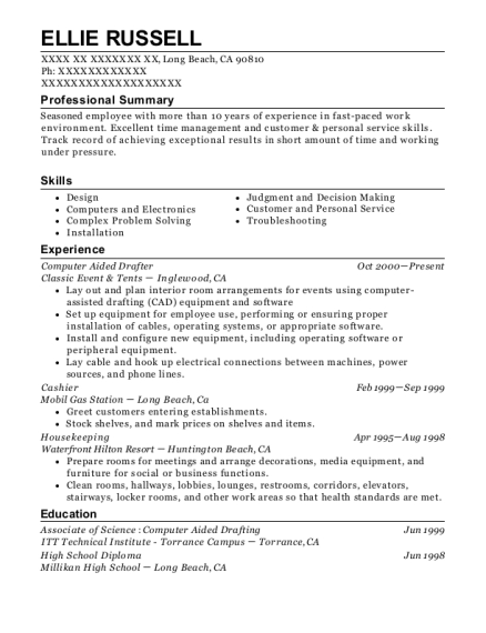 Computer Aided Drafter resume format California
