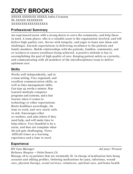 RN Case Manager resume sample California