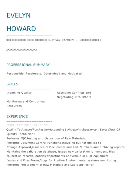 Quality Technician resume sample California