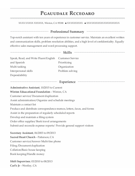 Adminstrative Assistant resume template California