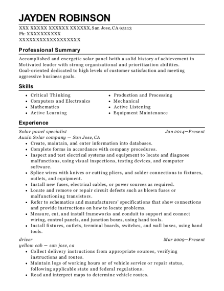 Solar panel specialist resume format California
